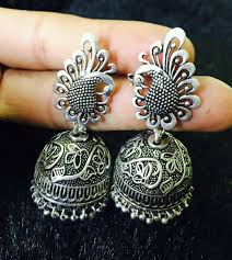 Buy Tribal German Silver Jhumka Buy German Silver Peacock Jhumkas 06 At 13 Off Online India At