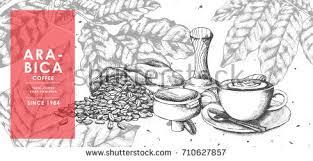 vintage latte art coffee coffee bean stock vector 710627857