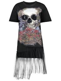 halloween sequin skull plus size tuinc top black xl in plus size