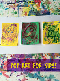 mini monets and mommies andy warhol print making art activity for