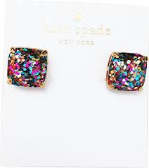 glitter stud earrings kate spade new york small square multicolor glitter