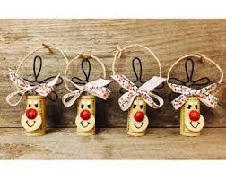 set of 4 wine cork reindeer ornaments rudolph ornaments