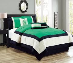 Green And Black Comforter Sets Queen 7 Piece Color Block Green Black Ivory Comforter Set