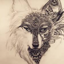 working on this spirit wolf fox design for a ink
