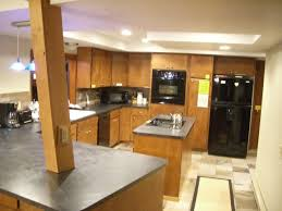 remarkable kitchen lighting ideas with black refrigerator and