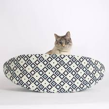 Modern Cat Bed Furniture by Cat Canoe Modern Cat Bed In Navy Geometric Cotton Fabric Kitty