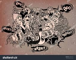 set hand drawn mad ugly monster stock vector 458617231 shutterstock