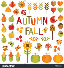 set colorful design elements autumn stock vector 227316949