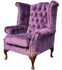 Queen Anne Wingback Chair Chesterfield Queen Anne High Back Wing Chair Elegance Crushed