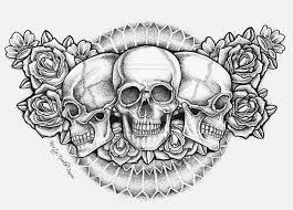 skull and rose tattoo flash art