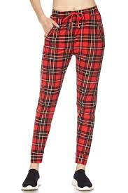 Christmas Classic Plaid print Brushed Jogger Pants