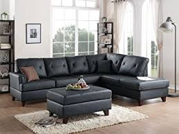 Sectional Sofa With Chaise 3pcs Black L Shaped Reversible Sectional Sofa Chaise