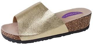 womens cork wedge mules metallic footbed platform sandals slip on