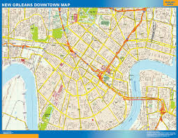 New Orleans On Us Map by New Orleans Downtown Map Netmaps Usa Wall Maps Shop Online