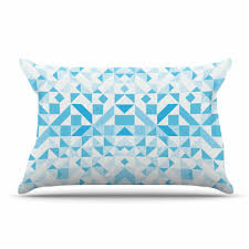 light blue pillow cases vasare nar light blue geometric digital blue pillow case