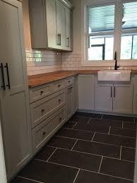 Transitional Kitchen Tile Flooring Subway Tile Backsplash - Butcher block backsplash