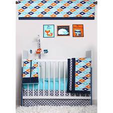 Nursery In A Bag Crib Bedding Set Bacati Liam Aztec Aqua Orange Navy 10 Nursery In A Bag