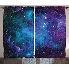 Amazon Space Decor Window Curtains by Ambesonne Galaxy Stars