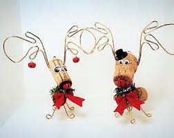 handmade wine cork reindeer moose ornaments w white knit