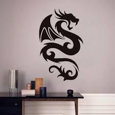 popular tribal dragon sticker buy cheap tribal dragon sticker lots chinese auspicious dragon winged tribal dragon silhouette art wall sticker for living room vinyl art wall
