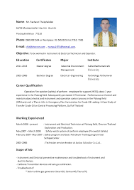 Sample Resume For Iti Electrician by Resume Template For Electrician