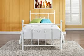 furniture rectangle white twin metal bed frame with grey blanket