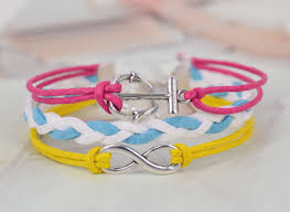 diy bracelet with charm images Silver tone infinity anchor charm white blue weave korean cashmere JPG