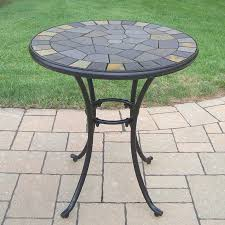 Patio Table With Umbrella Hole Shop Oakland Living Stone Art 26 In W X 26 In L Round Iron Bistro
