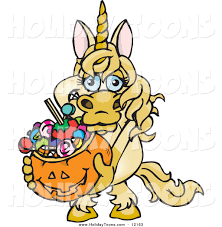 halloween basket royalty free holiday of a unicorn holding a pumpkin basket full of