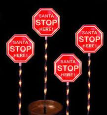stop sign with led lights set 4 santa stop sign light up christmas garden decoration led stake