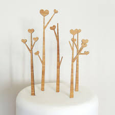 heart trees cake topper set heart tree wedding cake topper