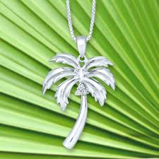 sterling silver palm tree necklace landing company