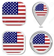 Free American Flag Stickers Usa Flag Icon Button Sticker Map Point Marker Royalty Free