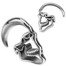 surgical steel earrings pair surgical steel skull hanging tapers expanders ear plugs