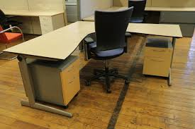 Maple Reception Desk by Ahrend 500 Series L Shaped Maple Desk With Wire Management