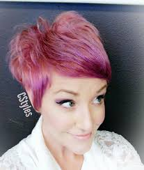 pink and peach texturized pixie hair cut using pulp riot jam and