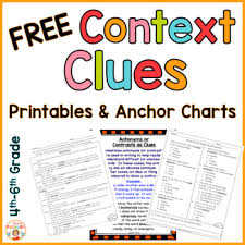 context clues anchor charts and printables free by kirsten u0027s kaboodle