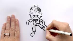 Draw Halloween How To Draw A Cartoon Zombie For Halloween Youtube