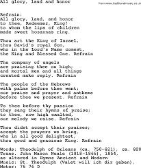 lent hymns song all glory laud and honor lyrics midi music