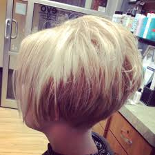 short cropped stacked tapered at neck bob hair by tiffany