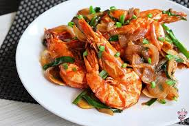 ginger king prawns with ginger and spring onions 姜葱大虾 bear food