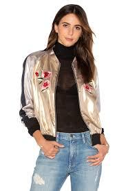 light bomber jacket womens frankie embroidered bomber jacket light gold women new collection