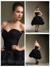 black strapless sweetheart knee length wedding dress with stunning