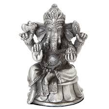 seated ganesha small pewter hindu god statue for luck remover of