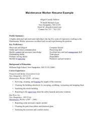 Maintence Resume Download Maintenance Worker Resume Haadyaooverbayresort Com