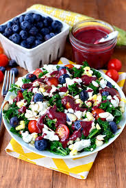 best salad recipes best of summer kale salad with blueberry balsamic vinaigrette