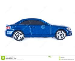 miniature blue toy car on white background royalty free stock