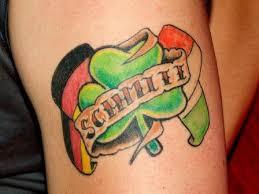 nice banner with zimbabwe and ireland flag shamrock tattoo on