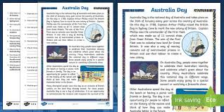 australia day differentiated reading comprehension activity