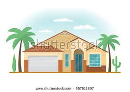 House Flat Design Modern Beach House Surfboard On Yellow Stock Vector 360821168